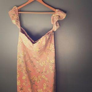 Express Off the Shoulder Pink Floral Dress